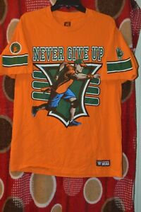 WWE Authentic 2015 Orange Never Give Up You Can't See Me T-Shirt 15x Size L WWF