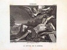 EL RISVEGLIO POR S. JERÓNIMO Grabado origin. XIX seg. SANTOS RELIGIOSOS GUERCINO