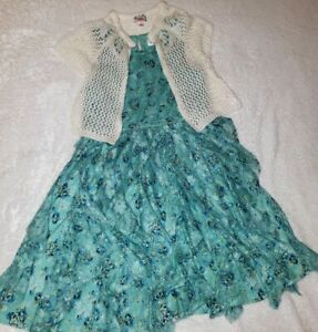 Justice 10 Green Lace Floral Garden Dress White Knit Sweater Bolero Outfit
