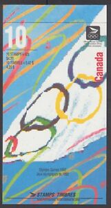CANADA BOOKLET BK146a 42c x 10 OLYMPIC SUMMER GAMES WHITE ON RIGHT, GLUED FLAP