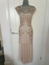 Miss Selfridge Embellished Nude Full Length Sequin Dress Fishtail Size 6 Prom