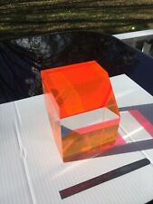 Acrylic Lucite MCM Op Art Prism Cube Paperweight Sculpture Beautiful Colors