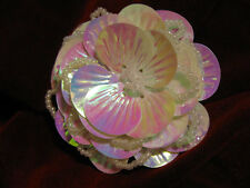 GORGEOUS LAYERED 2.25 Inch SEASHELL FLOWER SEQUIN BEADED APPLIQUE 2618-A