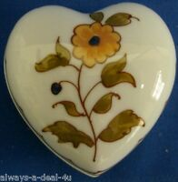 New Vintage Limoges France  Heart Shaped Floral Trinket Box_ Fast Free Shipping