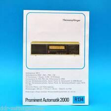 Prominent Automatik 2000 Empfänger 1976 Prospekt Werbung DEWAG DDR Radio R134 L