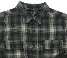 Mens HURLEY Gray Black Plaid Flannel Long Sleeve L/S Shirt Large L NWT NEW CooL