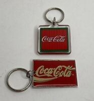 2 Vintage Coca-Cola Key Chain Rings 1 Plastic w/Green Border 1991 & 1 Metal 1990