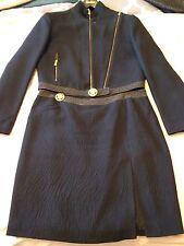 $5600 Versace Medusa Iconic Black And Gold Suit Jacket & Skirt Sz 12/L