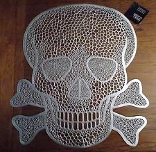 New Vinyl Silver Skull Face Decorative Kitchen Placemat Halloween