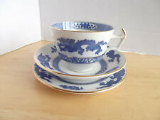 Cauldon English Blue & White Dragon Cup and Saucer , Plate. Trio with Gilt Trim