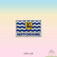 HERTFORDSHIRE UK County Flag With Name Embroidered Iron On Patch Sew On Badge