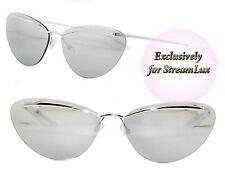 8ed9f570e19f CHRISTIAN DIOR Designer Cat Eye Sunglasses DIORETTE 010SS Silver Grey  Mirrored