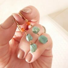& coral drop earrings, 9k 375 9ct gold pair of Victorian natural turquoise
