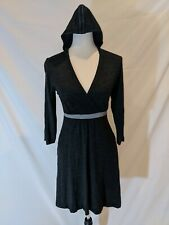 Ibex Womens Gray V Neck Empire Waist Hooded Merino Wool Dress Size Small Pockets