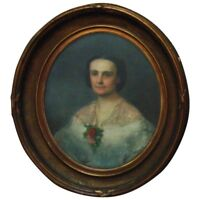 19th c. Victorian Pastel Portrait Lady Woman Antique Frame Wood & Gesso Painting