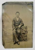 Seated Man In Suit With Mustache Antique 6th Sixth Plate Tintype No Case (O)