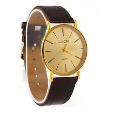 Luxury Golden Gentle Men Man Leather Band Watch Quartz Wrist Watches Cheap