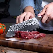 Nakiri Knife Japanese Chef Blade Handmade Forged Damascus Steel VG10 Full Tang 7