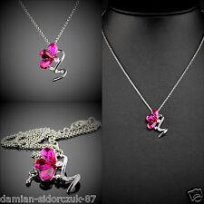 Swarovski ElementOriginal Design Silber Klassisch Halskette Pink Kristall 07