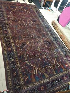 "Pre-1900 Hand Knotted Antique Signed Oriental Rug 9'11"" x 19'7"" Vintage"
