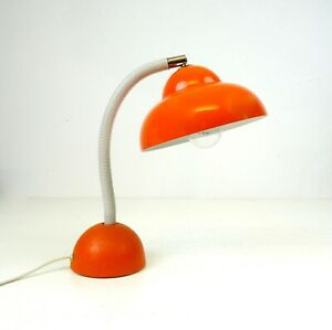 ORIGINAL MID CENTURY VINTAGE POP ART ORANGE TABLE LAMP LUIGI COLANI ERA