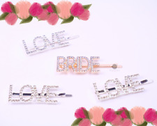 Lot of 4 Rose Gold Bride & Love Word Hair Clips | Bridal Barrette | USA SELLER