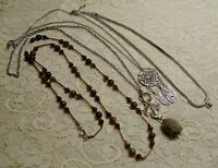 VINTAGE TO NOW ASSORTED STONE BEADED PENDANT SILVER TONE BOHO NECKLACE LOT
