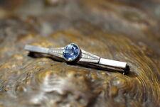 Nachlass antike Brosche Nadel 835er Silber großer blauer Topas edel & wertvoll
