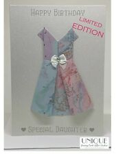 Happy Birthday Special Daughter | Luxury Glitter Card, diamante, bow, 3D dress