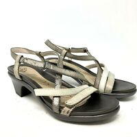 Abeo gloriana strappy heel comfort sandals metallic silver 7.5N narrow