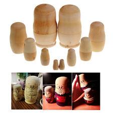 5x Unpainted Diy Blank Wooden Embryos Russian Nesting Dolls Matryoshka Toy Gift