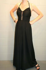 XS~S VTG 70s HALTER GOWN OPEN FRONT BEADED CORSET BLACK KNIT MAXI PARTY DRESS