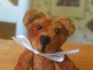 Miniature Brown Plush Artist Teddy Bear Blanton 3.5in EUC