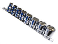 "9pc Whitworth Sockets on Rail 3/16"" - 5/8"" WW 1/2"" Drive 12pt Cr-v"