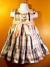H&M-Toddler Baby Girls-Size 18 Months-2T-Pink Plaid-Gray Summer-Satin-Tutu Dress