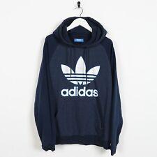 Vintage ADIDAS ORIGINALS Big Logo Hoodie Sweatshirt Navy Blue | Medium M