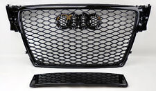 Audi A4 S4 B8 09-12 RS Style Euro Honeycomb Hex Mesh Gloss Black Grill