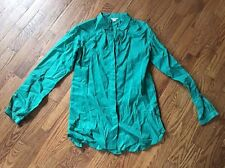 FOSSIL Women's Long Sleeve Kelly Green Button Front Blouse Size XS