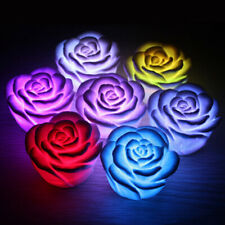 10Pcs 7 Color Romantic Auto Changing LED Floating Rose Flower Candle Night Light