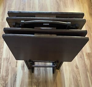 5 PIECE TRAY TABLE SET Solid Wood TV Card Game Laptop Snack Dinner Serving