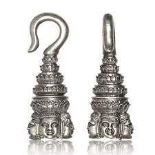 6g (4mm) FOUR FACED BUDDHA WHITE BRASS (SILVER TONE) WEIGHTS PLUGS TUNNELS GAUGE