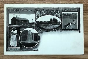 1906 Tijuana Mexico Franked B&W Multi Panel Undivided Postcard