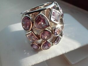 Genuine Natural Amethyst REAL 925 SS Geometric Cage Ring - 16.9 grams