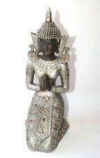 Thai Budda Deko Figur Feng Shui silber kniend ca. 27 cm Kunststoff