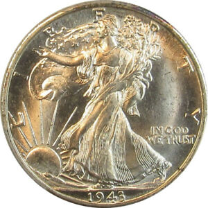1943 D WALKING LIBERTY HALF DOLLAR-PCGS MS64+  DRIPPING LUSTER GORGEOUS COIN