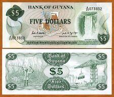 Guyana, 5 dollars, ND (1989), signature 7, Pick 22e, UNC