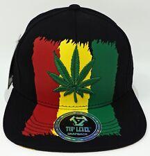 MARIJUANA Leaf Snapback Cap Hat Smoke 420 Rasta Blunt Weed OSFM NWT