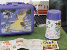Vintage Rare Nos Beauty And the Beast Plastic Lunchbox W/Thermos & Nesquik Estat