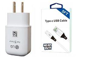 LG V20/V30/V40/V50/V60 ThinQ LG OEM Fast Wall USB-C 5 Feet + QC3.0 Car Adapter