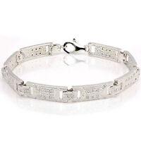 """Attractive Gentlemens 9/"""" Bracelet  Cubic Zirconia 925 Sterling silver 26g"""